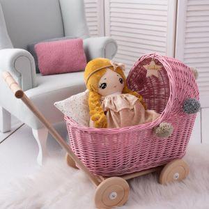 Rattan Puppenwagen mit Pompoms (viele Farben)
